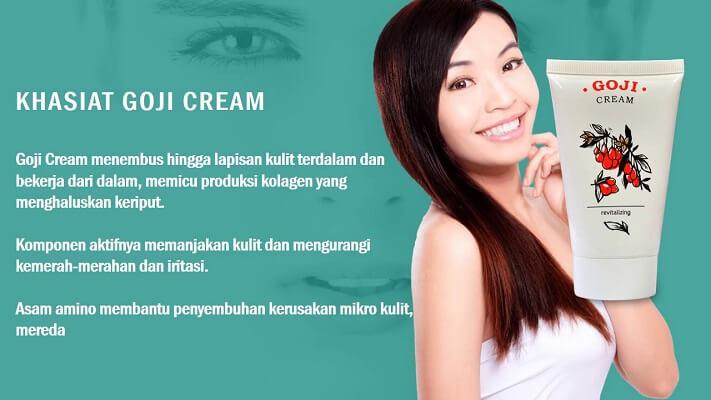 Goji Cream — membantu menggiatkan serta meningkatkan pembuatan kolagen pada semua lapisan epidermis kulit
