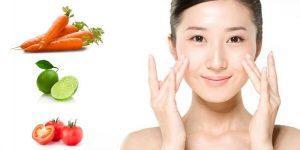 Makan sayur segar untuk kulit indah — wortel, tomat, alpukat